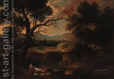 Drovers in a wooded landscape by (after) Gaspard Dughet Poussin - Reproduction Oil Painting