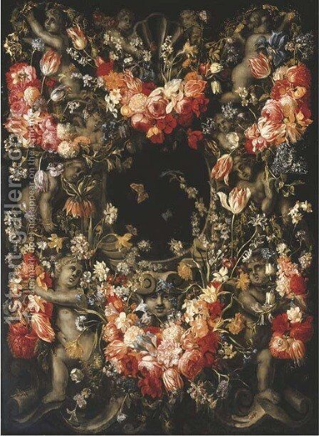 A garland of tulips by (after) Caspar Pieter I Verbrugghen - Reproduction Oil Painting