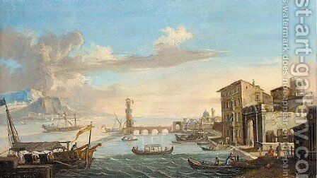A capriccio of a Mediterranean harbour with a lighthouse by (circle of) Wittel, Gaspar van (Vanvitelli) - Reproduction Oil Painting