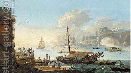 A capriccio of a Mediterranean harbour with stevedores on a quay by a galley by (circle of) Wittel, Gaspar van (Vanvitelli) - Reproduction Oil Painting