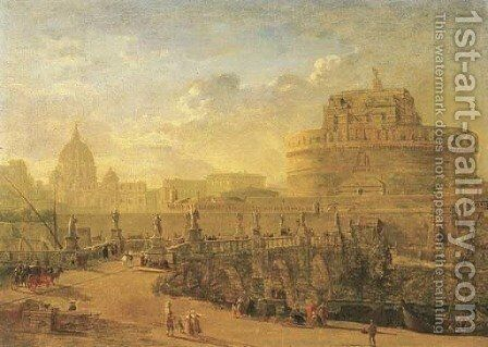 Rome, with the Ponte Sant'Angelo, the Castel Sant'Angelo and Saint Peter's beyond by (circle of) Wittel, Gaspar van (Vanvitelli) - Reproduction Oil Painting