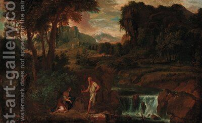 An extensive landscape with a woman and hermit saint by a rocky river by (after) Gaspard Dughet Poussin - Reproduction Oil Painting