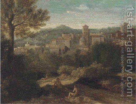A landscape with figures at rest on a track, a town beyond by (after) Gaspard Dughet - Reproduction Oil Painting