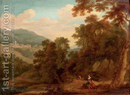 A mountainous wooded landscape with the Ecstasy of Saint Francis by (after) Gaspard Dughet - Reproduction Oil Painting