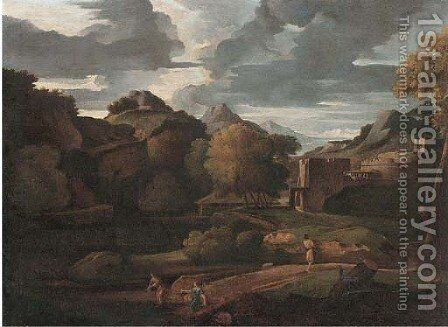 An Italianate landscape with figures on a path, classical buildings beyond by (after) Gaspard Dughet - Reproduction Oil Painting