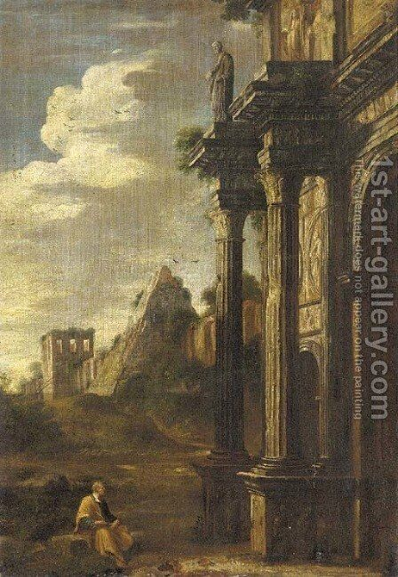 A capriccio of an artist sketching at the base of the Arch of Titus, the Pyramid of Cestus beyond by (after) Gaspard Dughet - Reproduction Oil Painting