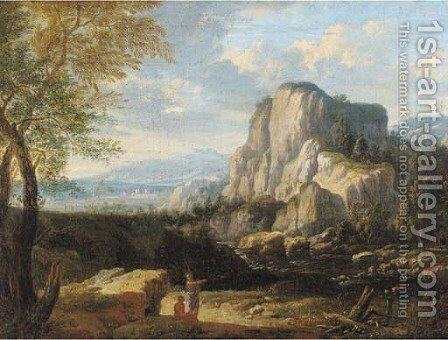 An Italianate landscape with travellers at halt by a river by (after) Gaspard Dughet - Reproduction Oil Painting