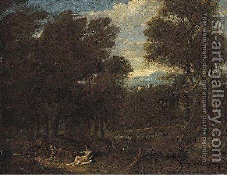 Cupid and Venus in a classical landscape by (after) Gaspard Dughet - Reproduction Oil Painting