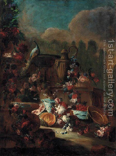 Flowers and fruit by an urn with a fountain and a peacock in a landscaped park by (after) Gasparo Lopez - Reproduction Oil Painting