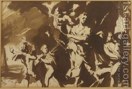 Diana led away from the figure of Prosperity by cupids and putti by (after) Gerard De Lairesse - Reproduction Oil Painting