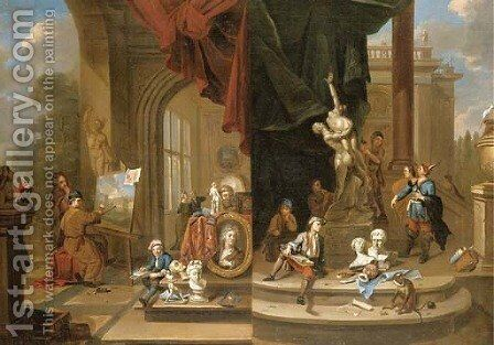 An allegory of painting and sculpture by (after) Gerard Thomas - Reproduction Oil Painting