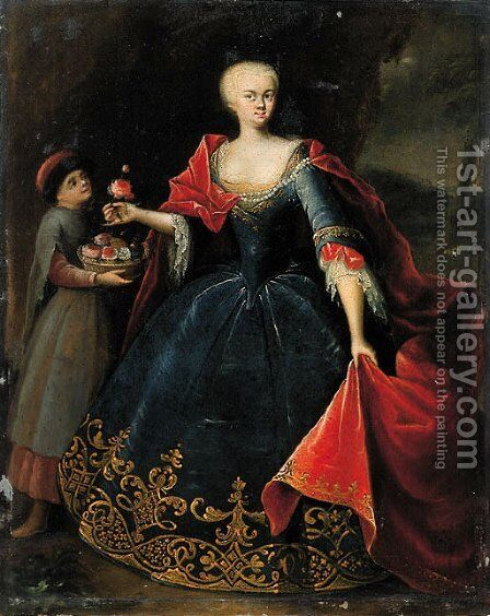 Portrait of a noblewoman by (after) Georg Desmares - Reproduction Oil Painting