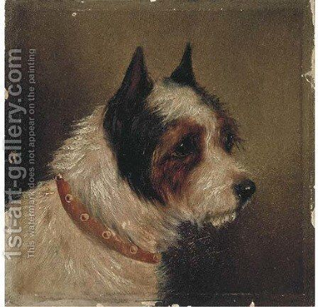 The head of a terrier by (after) George Armfield - Reproduction Oil Painting