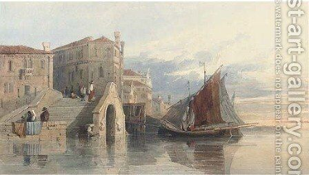 The Arsenal at Venice by (after) George Arthur Fripp - Reproduction Oil Painting