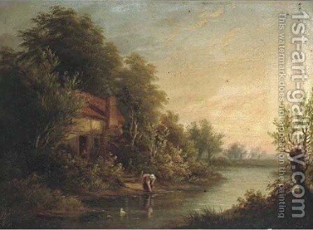 Figures by a cottage in a river landscape; and A goatherd on a wooded track by (after) George Augustus Williams - Reproduction Oil Painting