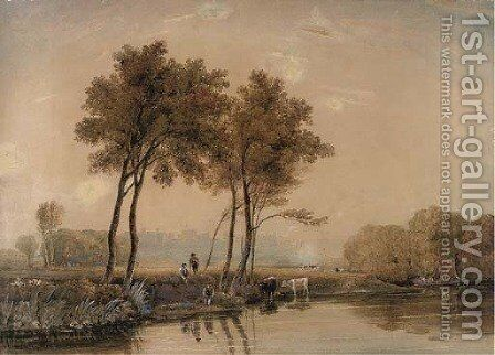 Anglers on the banks of the Thames before Windsor Castle by (after) Ircle Of George Jun Barret - Reproduction Oil Painting