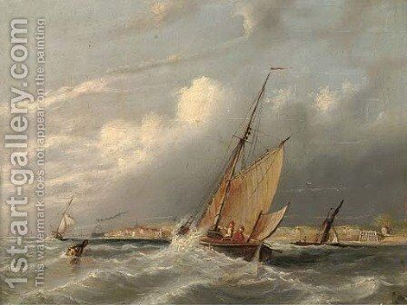 A fishing vessel heading out to sea by (after) George Chambers - Reproduction Oil Painting