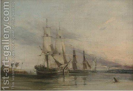 Brigs, probably colliers, on the estuary at dusk by (after) George Sen Chambers - Reproduction Oil Painting