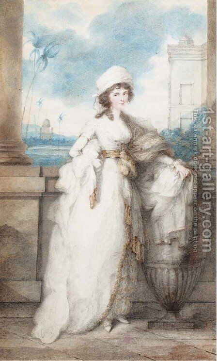 Portrait of a lady, standing on a balcony by (circle of) Chinnery, George (1774-1852) - Reproduction Oil Painting