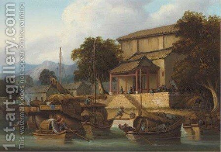 Sampans and junks on a Chinese river by (circle of) Chinnery, George (1774-1852) - Reproduction Oil Painting