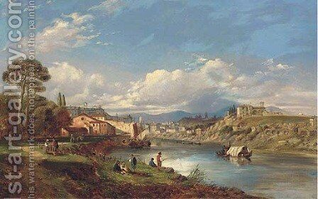 On the Tiber, Rome by (after) George Clarkson Stanfield - Reproduction Oil Painting