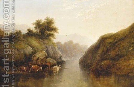 Cattle watering in a river valley landscape by (after) George Snr Cole - Reproduction Oil Painting