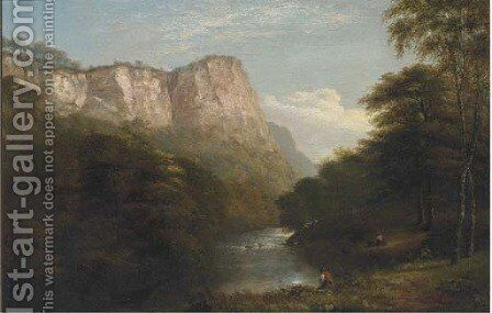 Figures in a river gorge by (after) George Snr Cole - Reproduction Oil Painting