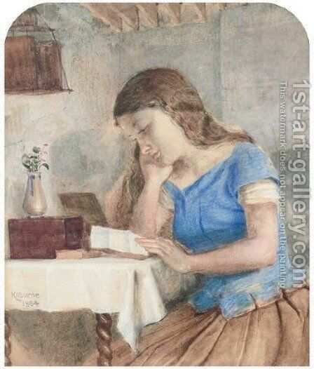 Engrossed in the letter by (after) George Goodwin Kilburne - Reproduction Oil Painting