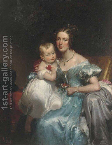 Portrait of a mother and child by (after) George Henry Harlow - Reproduction Oil Painting