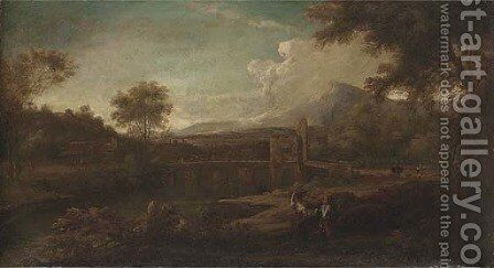 Italianate river landscape with figures in the foreground, a Roman bridge beyond by (after) George Lambert - Reproduction Oil Painting