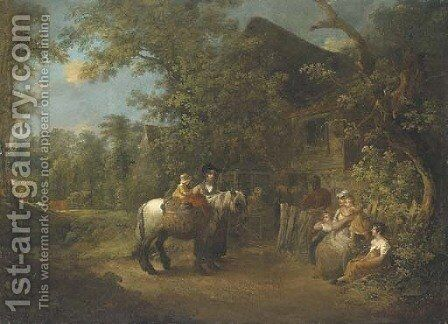 Figures by a cottage in a wooded landscape by (after) George Morland - Reproduction Oil Painting