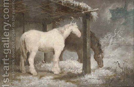 Horses on a winter's night by (after) George Morland - Reproduction Oil Painting