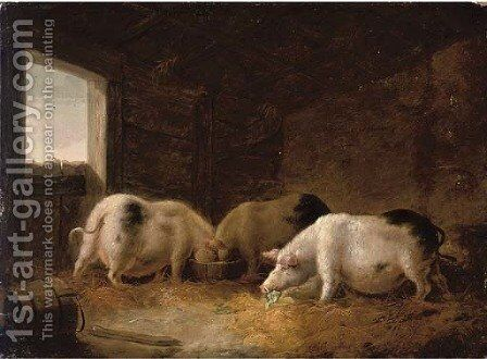 Pigs feeding by (after) George Morland - Reproduction Oil Painting