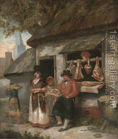 The country butcher by (after) George Morland - Reproduction Oil Painting