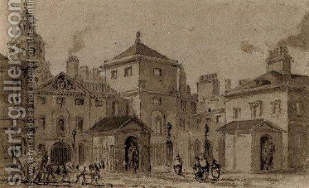 View of the east front of Horse Guards at Whitehall by (after) George Pyne - Reproduction Oil Painting