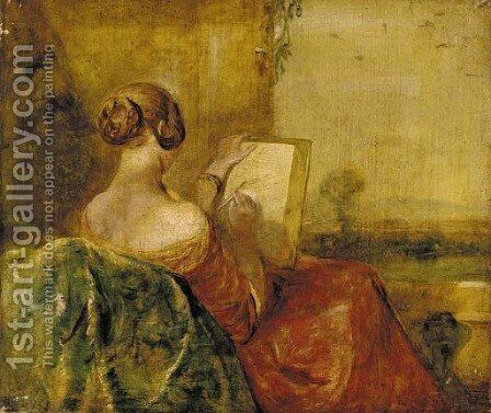 A lady sketching on a terrace by (after) George Richmond - Reproduction Oil Painting