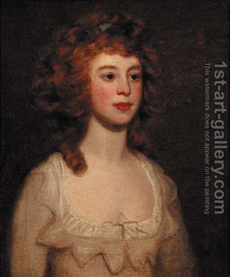 Portrait of a lady, quarter-length, in a cream dress, looking to her left by (after) Romney, George - Reproduction Oil Painting