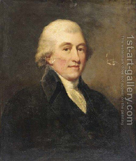 Portrait of Mr. Elisdan, bust-length, in a black coat and white cravat by (after) Romney, George - Reproduction Oil Painting