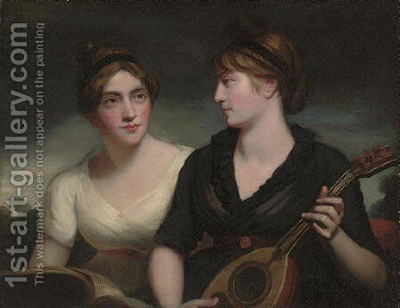 A double portrait of sisters, half-length, one in a black dress playing a lute, the other in a white dress holding a musical score, a landscape beyond by (after) Romney, George - Reproduction Oil Painting