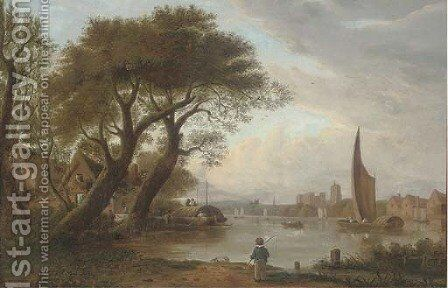 A view along the Medway, Rochester by (after) George Vincent - Reproduction Oil Painting