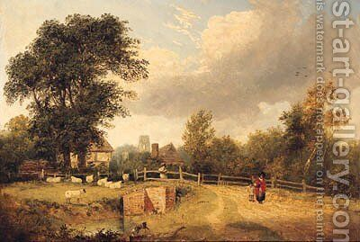 A Wooded River Landscape With Figures On A Path, A Village Beyond by (after) George Vincent - Reproduction Oil Painting