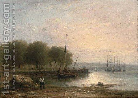 Low-tide, early morning by (after) George Vincent - Reproduction Oil Painting