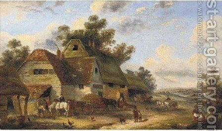 Figures in a farmyard by (after) Georgina Lara - Reproduction Oil Painting