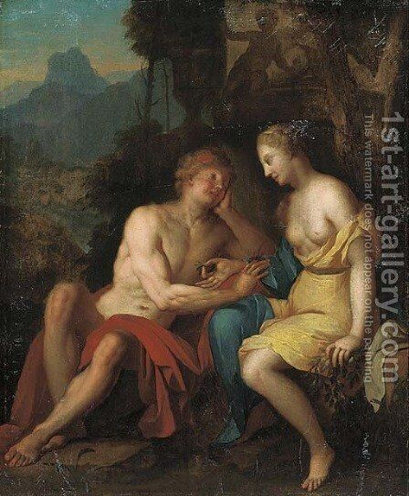 Seated classical lovers by (after) Gerard De Lairesse - Reproduction Oil Painting