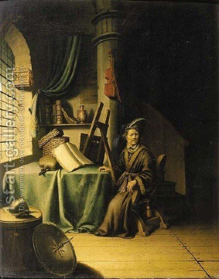 A scholar in an interior by (after) Gerrit Dou - Reproduction Oil Painting