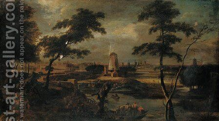 A distant view of Amsterdam with peasants in a ferry in the foreground by (after) Gerard Edema - Reproduction Oil Painting