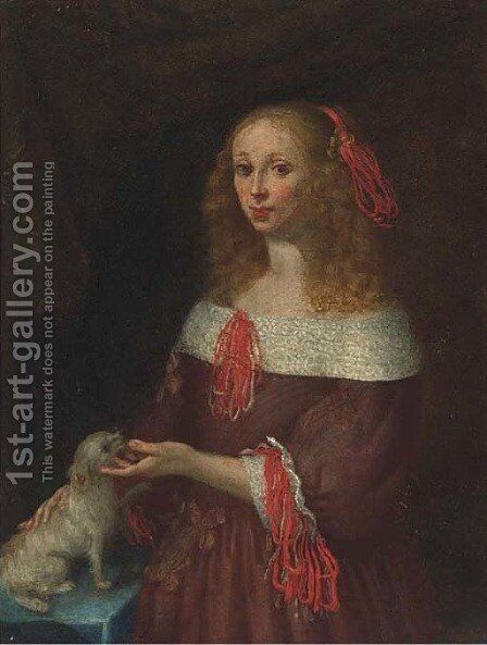 Portrait of a lady 2 by (after) Gerard Ter Borch - Reproduction Oil Painting