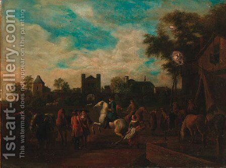 Grooms schooling horses before a tavern by (after) Gerrit Adriaensz Berckheyde - Reproduction Oil Painting