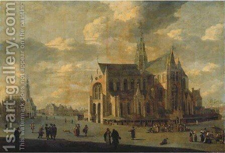 The Grote Markt with Saint Bavo's Cathedral, Haarlem by (after) Gerrit Adriaensz Berckheyde - Reproduction Oil Painting