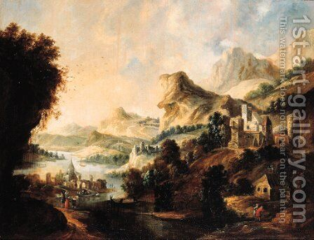 An extensive Rhenish landscape with an elegant couple and travellers on a path above a valley by (after) Gerrit Van Battem - Reproduction Oil Painting